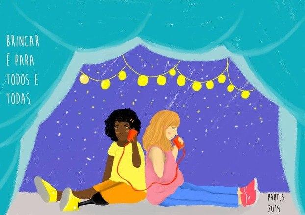 Nesta ilustração, duas crianças com deficiência brincam de telefone sem fioLeia também:O que os festivais ainda precisam aprender sobre acessibilidade