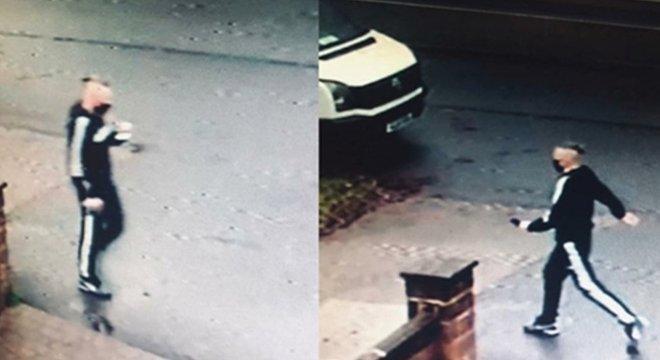 A polícia divulgou imagens de câmeras de segurança que mostram um suspeito da fraude