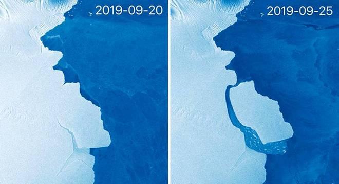 Sistema de satélite Sentinel-1 da União Europeia capturou essas imagens para fazer a comparação antes e depois