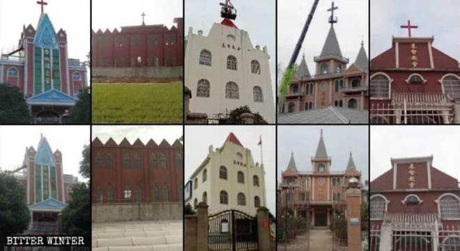 Imagens mostram o antes e o depois da retiradas das cruzes em Anhui