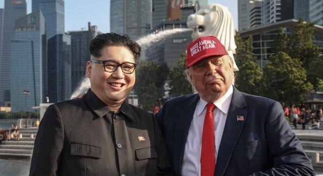 Imitadores de Kim Jong-un e Donald Trump já estão circulando por Cingapura