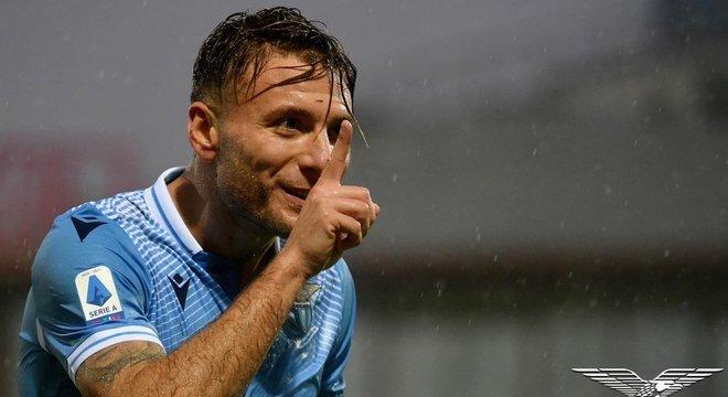 Immobile, da Lazio, um gol, depois da quarentena