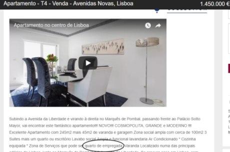 Anúncio em Portugal inclui quarto de empregada