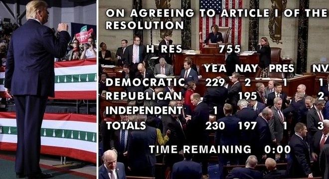 Trump em comício e a votação do impeachmet na Câmara: país dividido