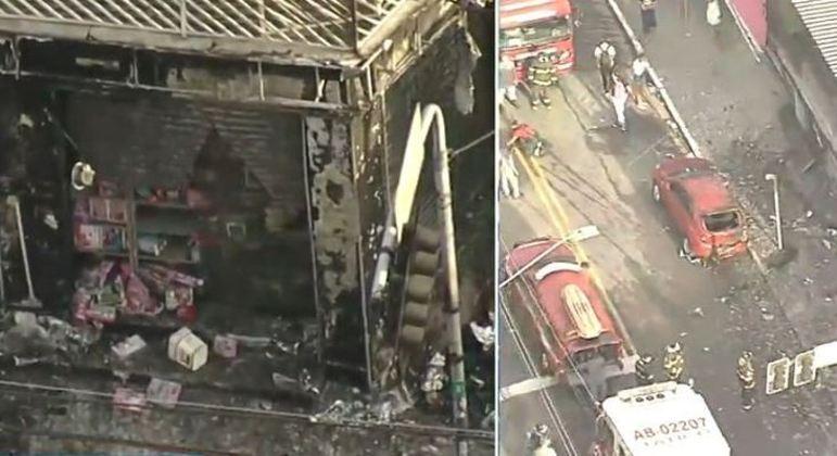 Incêndio destruiu loja de variedades e ainda atingiu carro que estava estacionado em frente