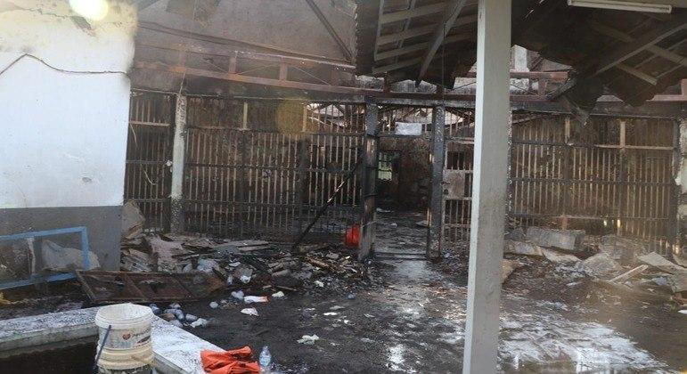 Ala da prisão ficou destroçada após o incidente