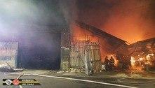 SP: incêndio de grandes proporções destrói madeireira na zona leste