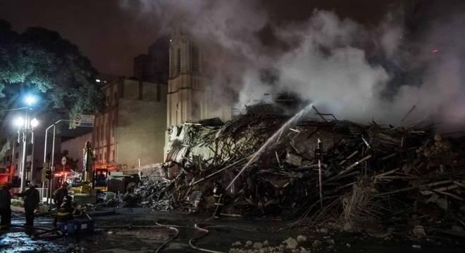 Escombros do edifício Wilton Paes de Almeida, no Largo do Paissandu em 2018