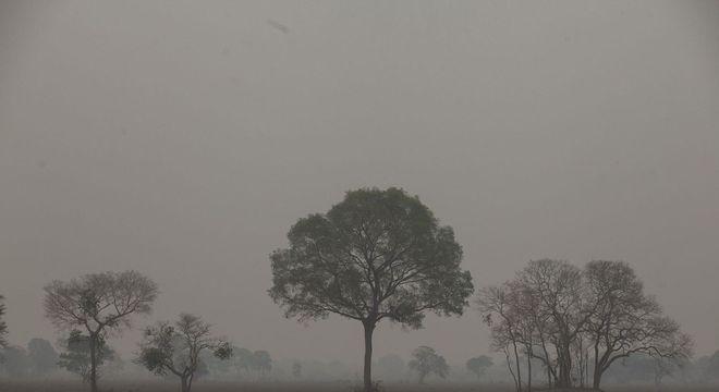 Fumaça encobre o céu na cidade de Poconé (MT)