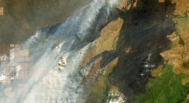 Imagem de satélite mostra incêndios na tríplice fronteira Brasil-Bolívia-Paraguai