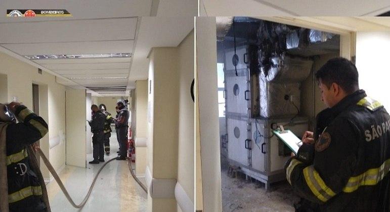 Fogo  em um duto de ar condicionado foi controlado e não houve vítimas