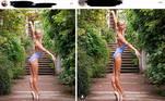 Foi o caso desta bailarina norte-americana, que publicou um clique de uma de suas posturas de dança nas redes sociais. O problema é que o fotógrafo publicou a imagem original, na qual ela aparece com as formas bem menos alongadas - e mais reais