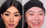 Com maquiagem e sem maquiagem
