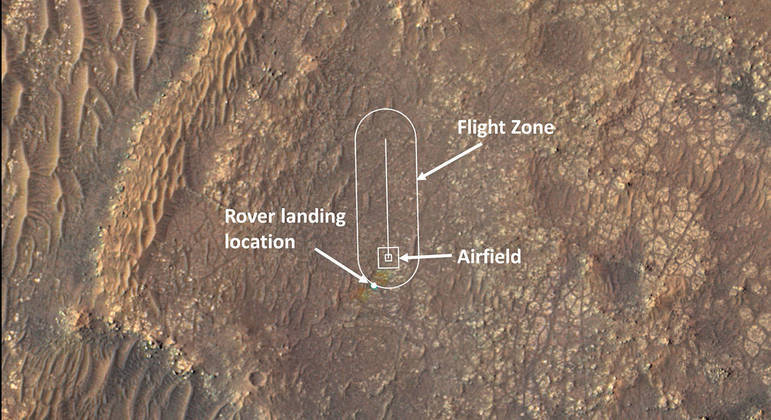 Foto divulgada pela Nasa mostra região onde deverá acontecer o voo do Ingenuity