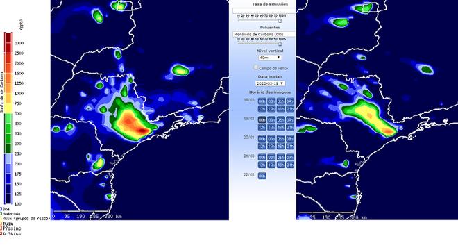 Entre 19 (à esquerda) e 25/3, emissão de CO diminuiu em grandes cidades brasileiras