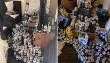 Inquilino deixa casa com 5 mil latas de cerveja cheias de urina