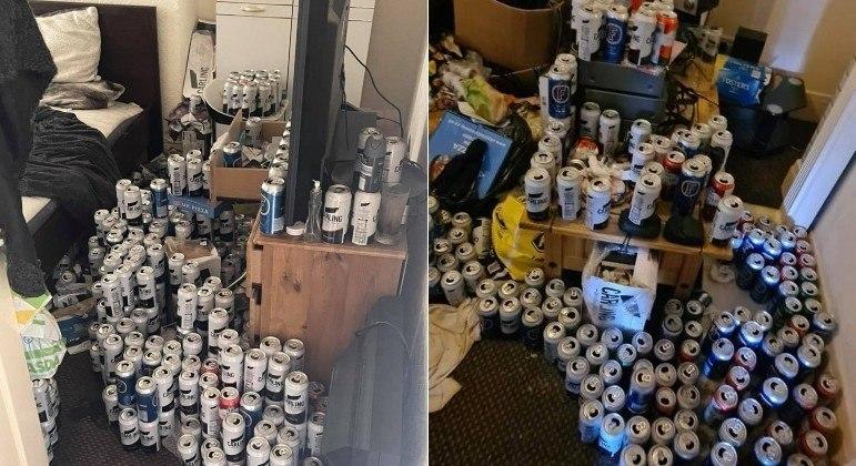Inquilino saiu de imóvel e deixou para trás quase 5 mil latas de cerveja cheias de urina