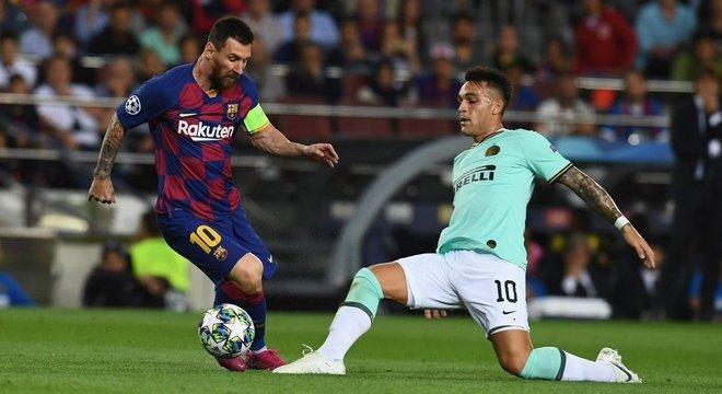 Messi e Lautaro Martínez, Barcelona 2 X 1 Internazionale