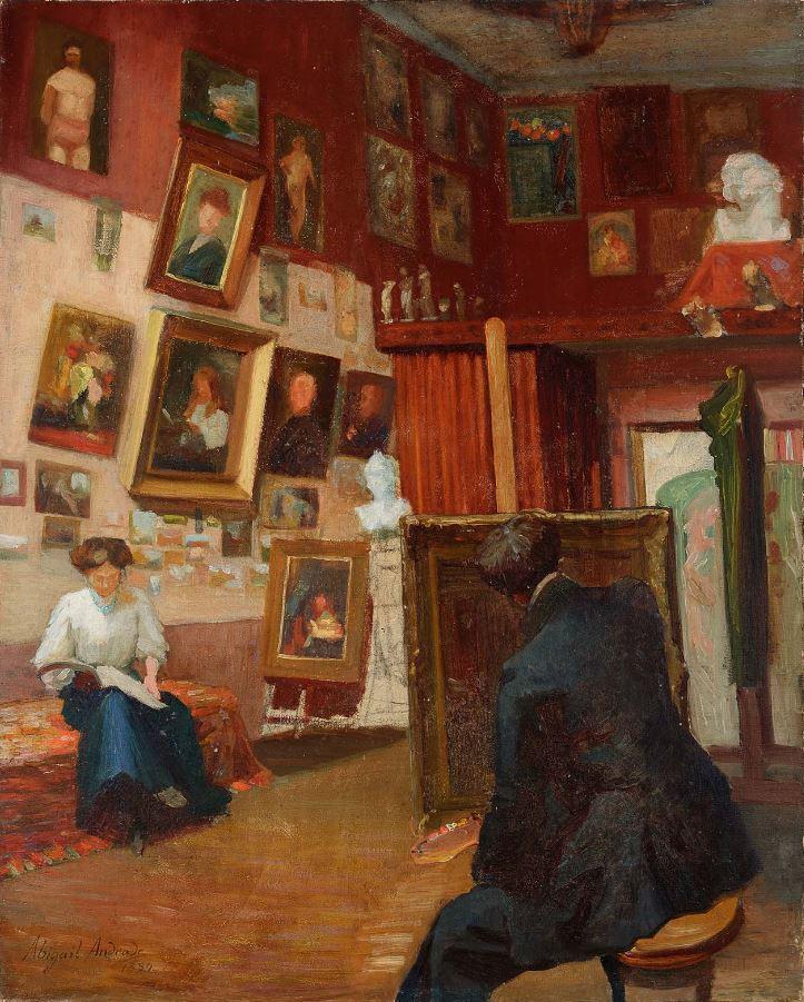 'Interior de Ateliê' (1889) retrata um pouco da vida do casal em Paris: na imagem, Ângelo pinta enquanto Abigail lê