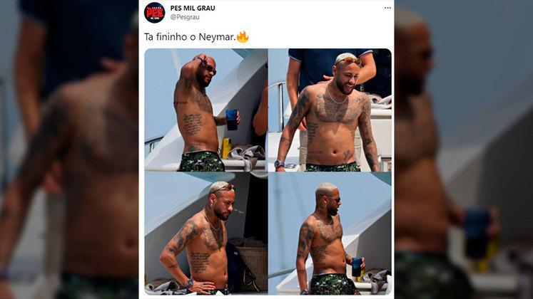 Internautas brincam com barriguinha de Neymar em passeio de iate em Ibiza
