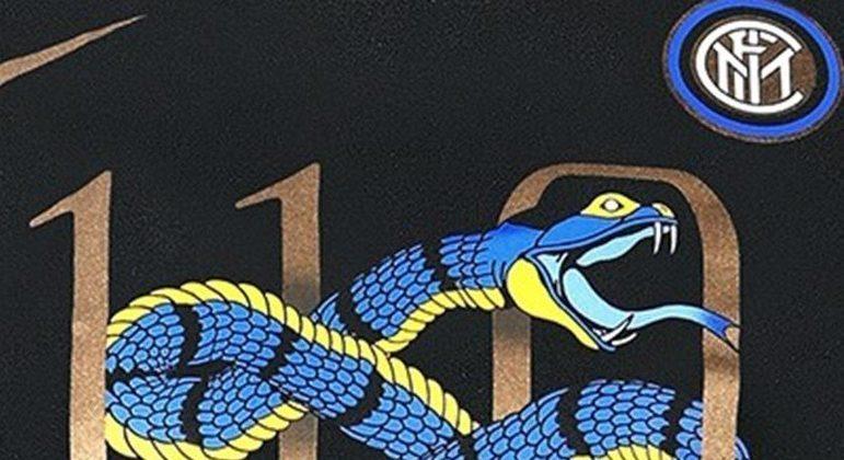 """A """"Biscione"""", no logo dos 110 anos da Inter, em 2018"""