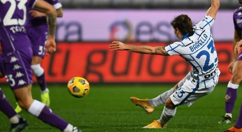 O momento do gol de Barella, Fiorentina 0 X 1 Internazionale