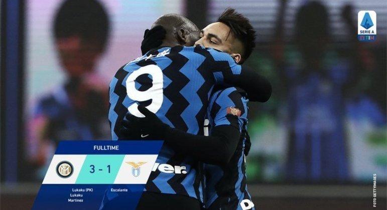 Lukaku e Lautaro Martínez, na celebração dos 3 X 1