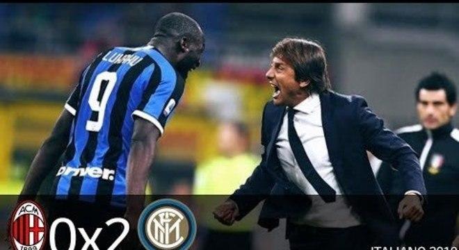 Lukaku e Conte, na vitória da Inter sobre o Milan