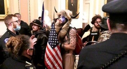Manifestante durante invasão ao Congresso dos EUA