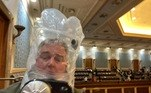 Rep. David Trone wears a gas mask inside the U.S. Capitol in Washington, DC, U.S., January 6, 2021, in this still image obtained from social media. Twitter/@RepDavidTrone/via REUTERS ATTENTION EDITOR - THIS IMAGE HAS BEEN SUPPLIED BY A THIRD PARTY. MANDATORY CREDIT. NO RESALES. NO ARCHIVES