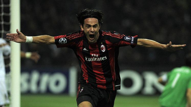 Inzaghi: Atuando por Milan e Juventus, Inzaghi anotou 46 gols, ficando na oitava colocação.