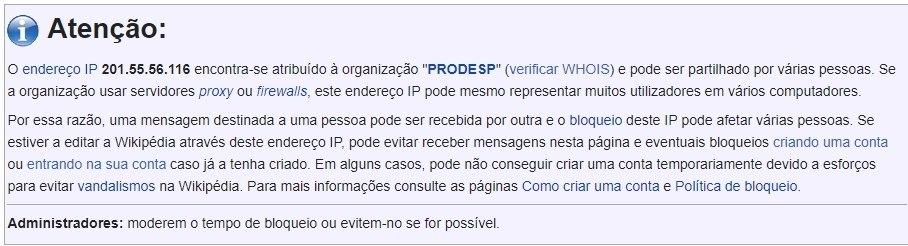 Wikipédia indica que IP utilizado pela PM é atribuído à Prodesp