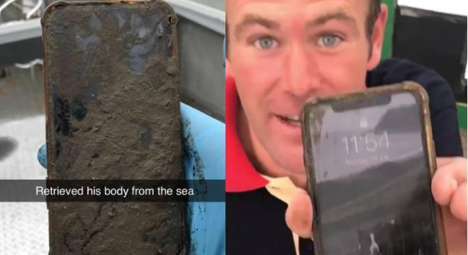 Marinheiro Ben Schofield com seu iPhone X resgatado do fundo do mar