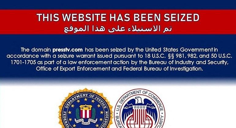 Site de emissora iraniana trazia apenas aviso de confisco por parte dos EUA