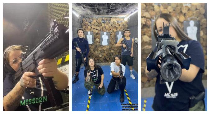 Hagda Kerolayne exibiu fotos da aula de tiro nas redes sociais