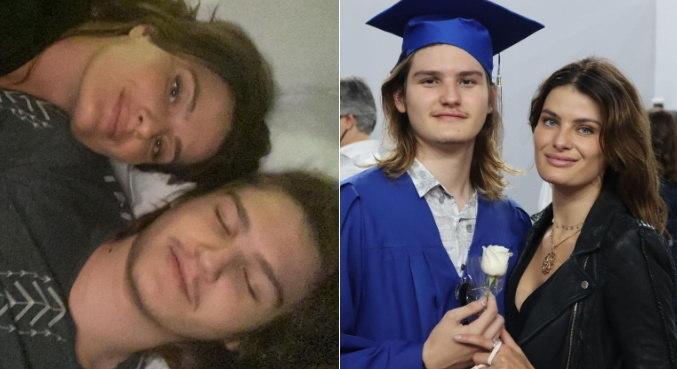 Isabeli Fontana posando com o filho Zion, de 18 anos, que passou por cirurgia