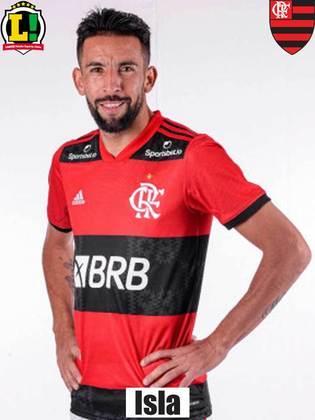 Isla: 6,5 - No início, já avassalador do Flamengo, foi o jogador que mais pecou nos passes. E deu brechas atrás. Mas, com espaço para apoiar, forneceu amplitude ao ataque e uma boa assistência - para o gol de Diego.