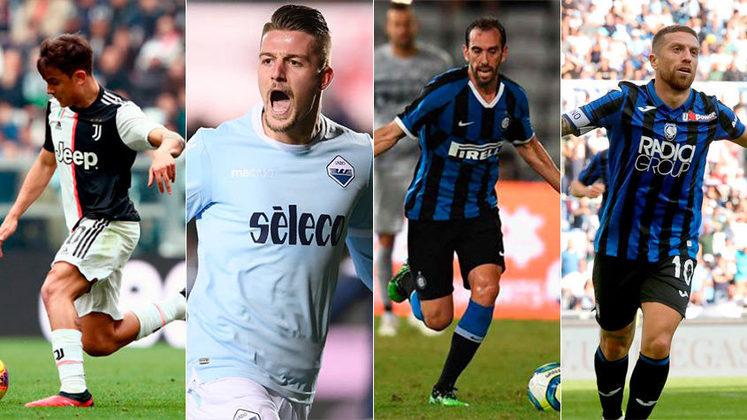 Itália (Série A - Calcio) -  Juventus, Lazio, Internazionale e Atalanta são os quatro primeiros colocados do Campeonato e seriam as equipes classificadas para a próxima Champions League 2020/21. Restam apenas cinco rodadas para acabar o Calcio