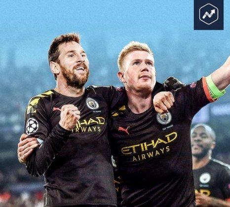 Já imaginaram essa dupla? Lionel Messi e De Bruyne seria o terror para qualquer adversário