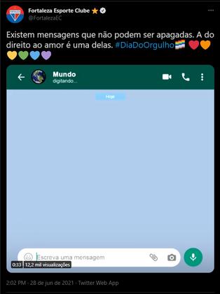 Já o Fortaleza fez um vídeo para mostrar que o preconceito contra as pessoas LGBTQIA+ não pode continuar e que os direitos destes cidadãos não podem ser apagados.