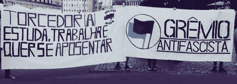 Já o Tricolor Gaúcho é representado por Grêmio Antifascista, Antifascistas do Grêmio, Coletivo Elis Vive e Tribuna 77.