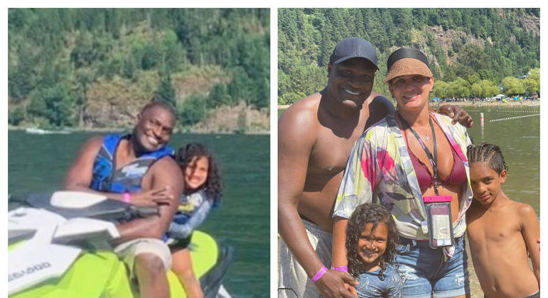 Jacaré e a família no Canadá, onde vivem desde 2016