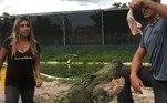 O registro hilário foi compartilhado no Instagram pelo tratadorChristopher Gillette, que trabalha no Everglades Holiday Park, na Flórida (EUA)