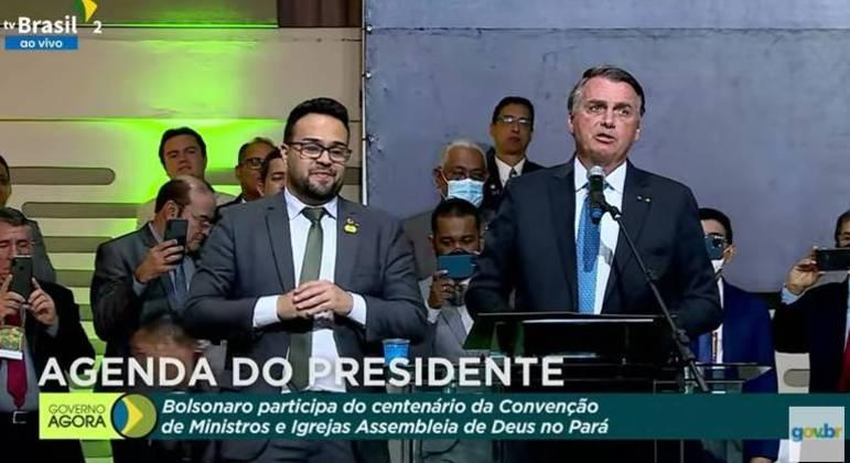 O presidente Jair Bolsonaro, durante evento no Pará