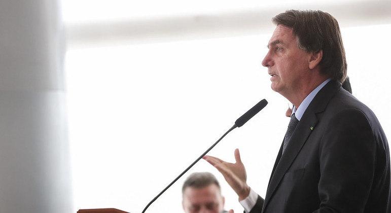 O Presidente Jair Bolsonaro, em evento no Palácio do Planalto