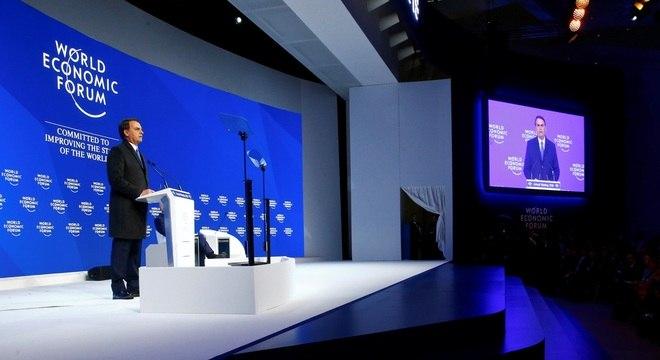 Bolsonaro durante seu discurso no Fórum Econômico Mundial de Davos, nesta terça (22)