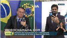 Bolsonaro e Faria fazem primeira videochamada em 5G no Brasil