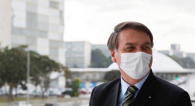 Jair Bolsonaro na rampa do Palácio do Planalto, em Brasília