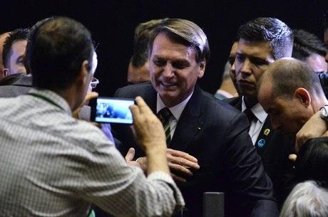 O Bolsonaro em evento no Congresso Nacional