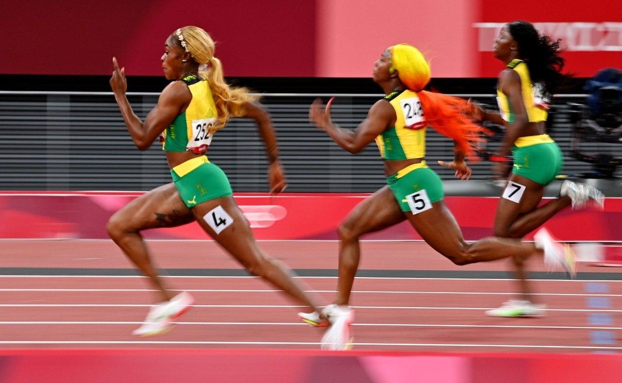 Elaine Thompson-Herah, Shelly-Ann Fraser-Pryce e Shericka Jackson nos 100 m